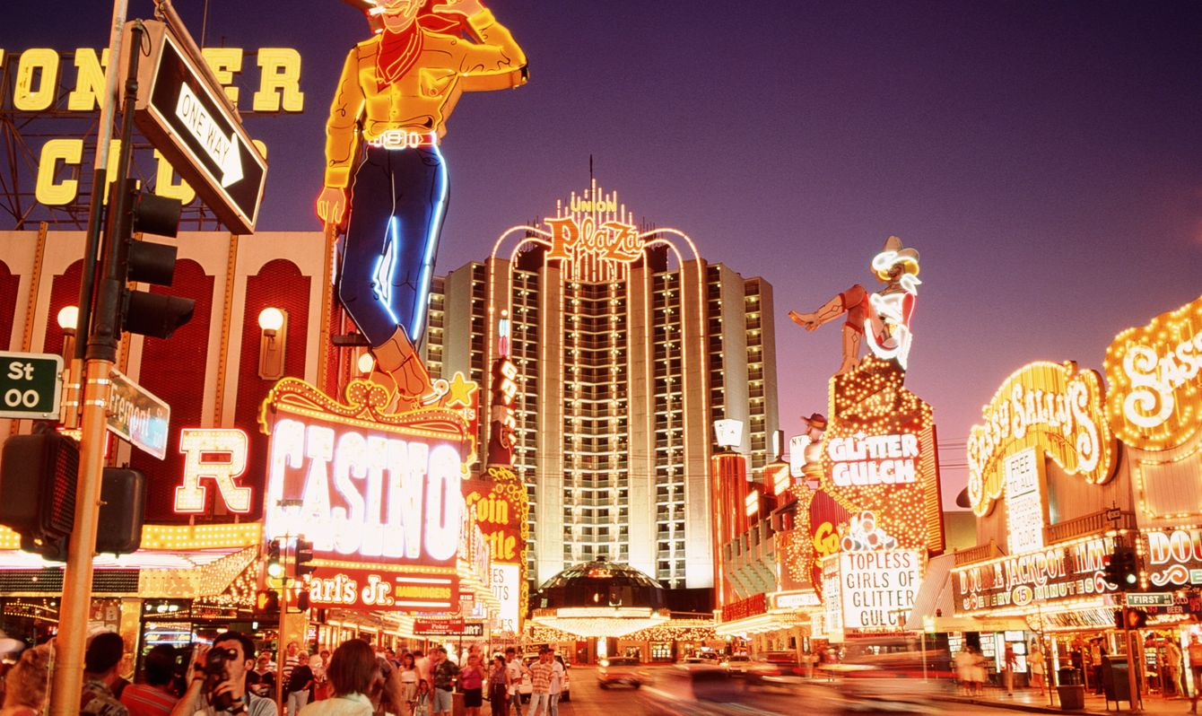USA, Nevada, downtown Las Vegas, neon signs on Fremont Street