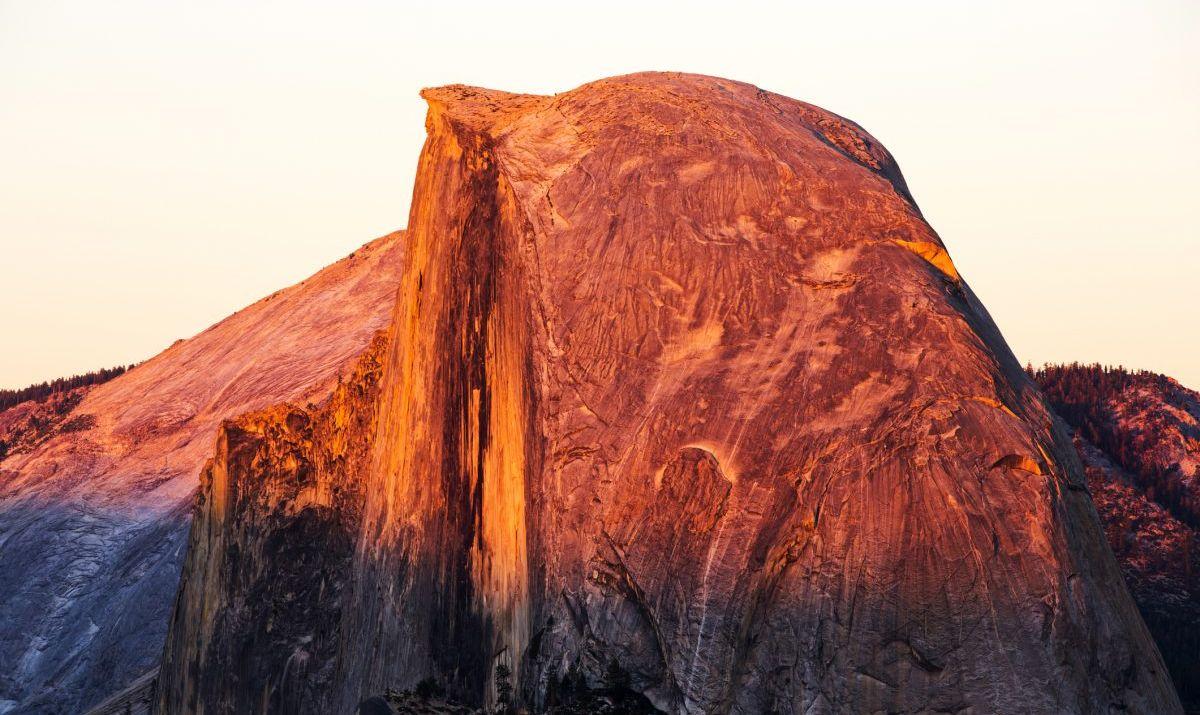 Half Dome at dusk.