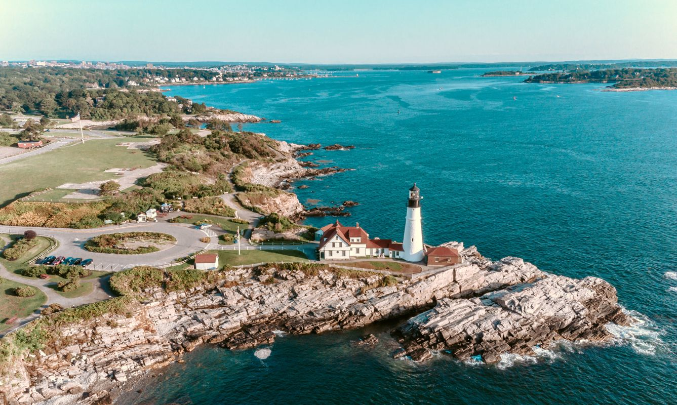 Aerial View Portland Head Lighthouse Maine USA