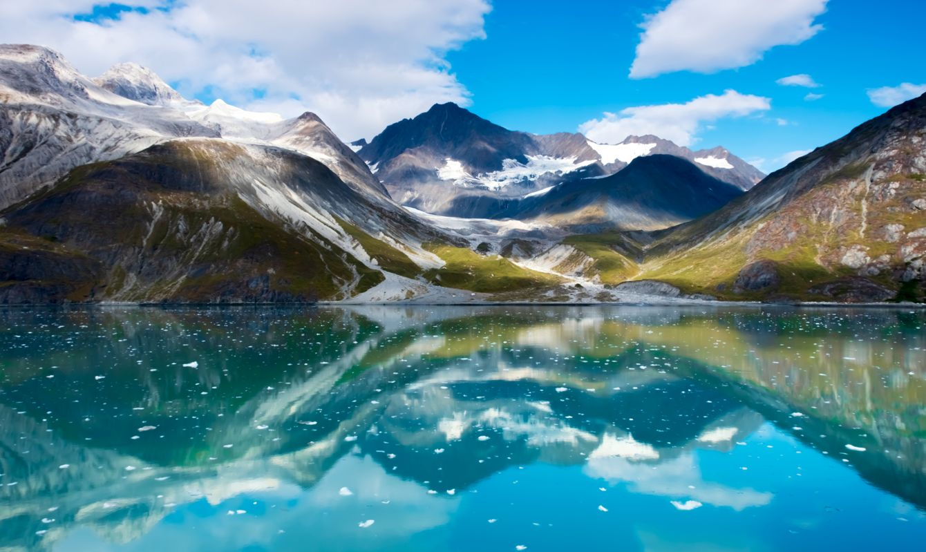Majestic mountain range in Glacier Bay National Park, Alaska