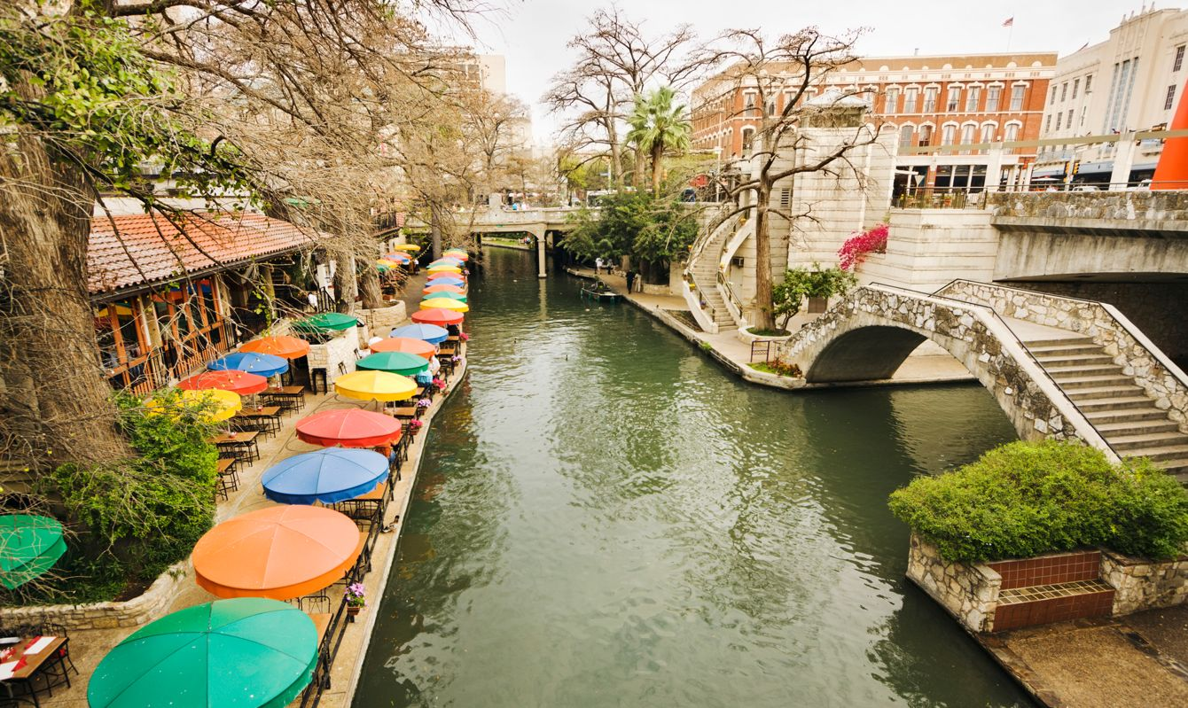 Subject: The River Walk entertainment district of San Antonio, TX.