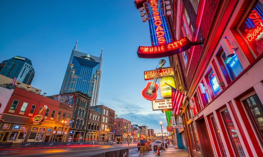 Neon signs on Lower Broadway Area in Nashville, Tennessee