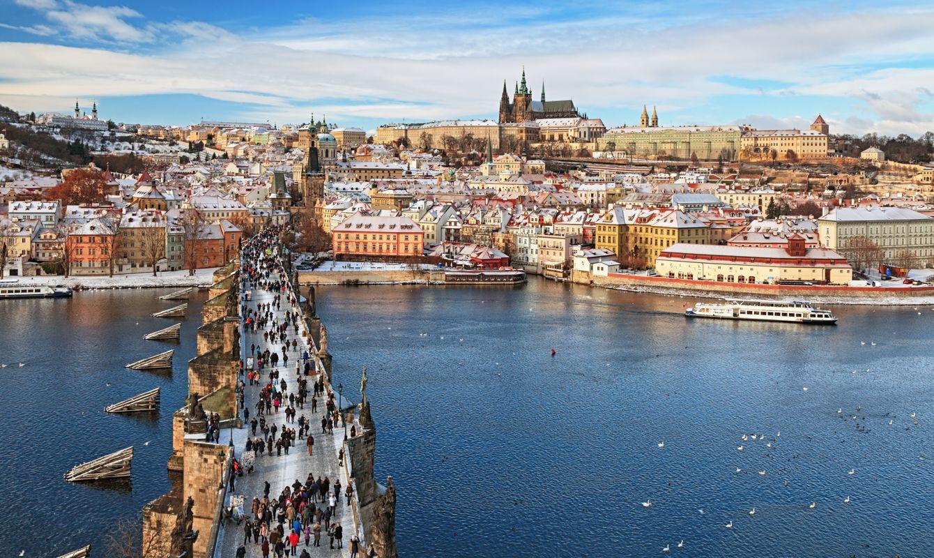 View of Prague at winter over Vltava river