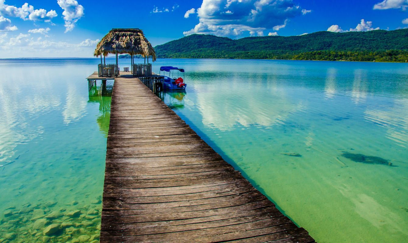 Beautiful pier at Lake Peten, close to Flores - The lake is in the north of Guatemala, close to Belize