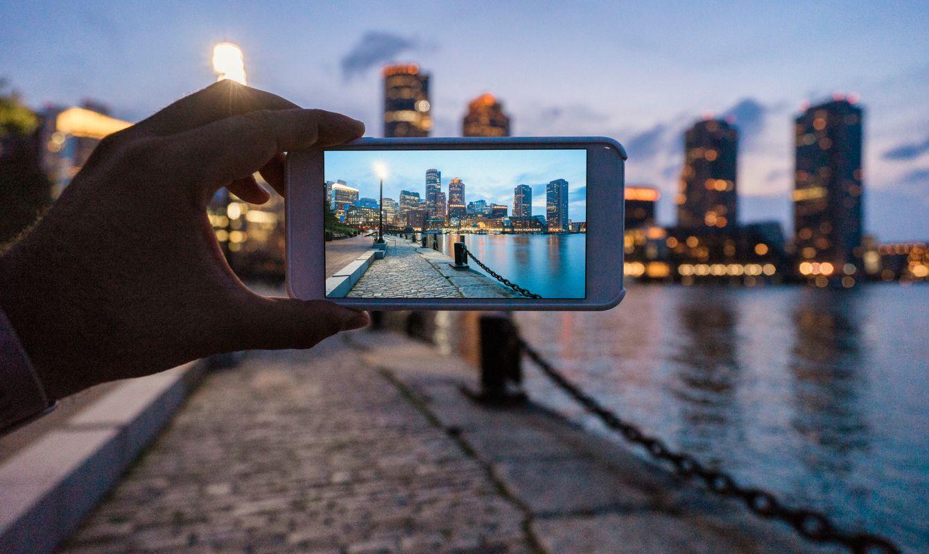 Photographing Boston skyline at sunset