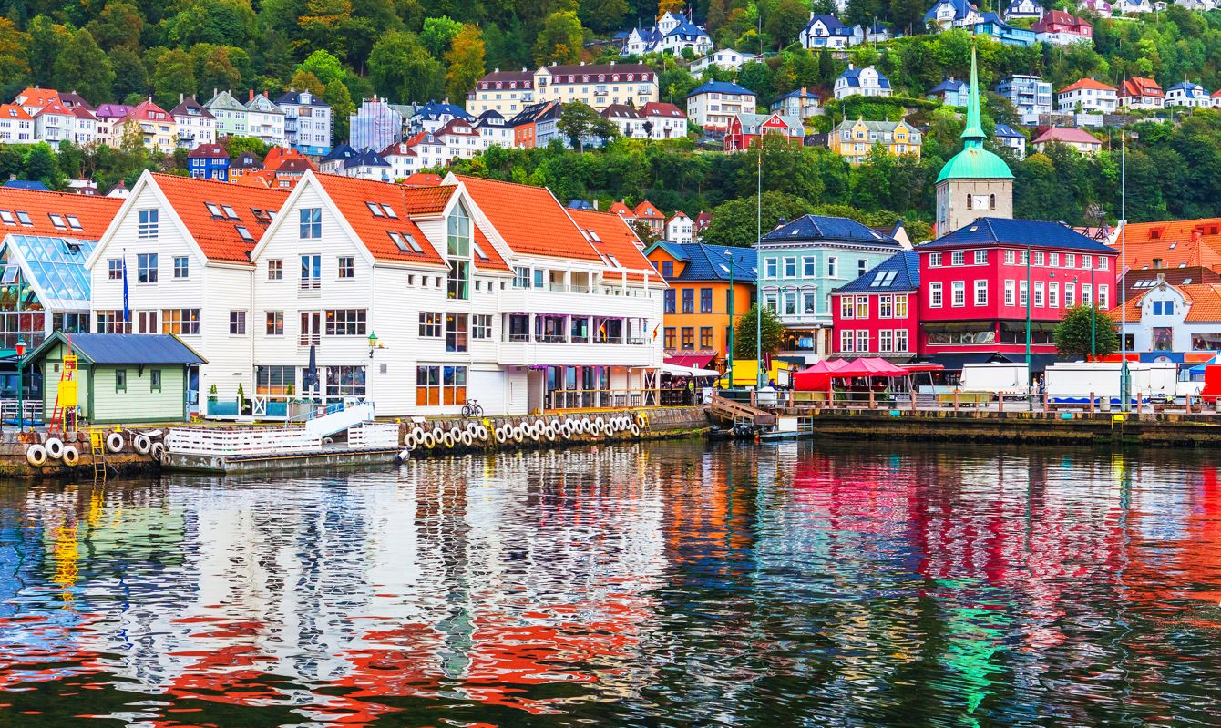 Scenic summer panorama of the Old Town pier architecture of Bryggen in Bergen, Norway