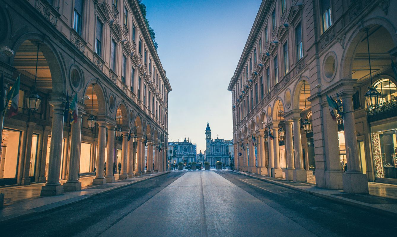 Main View of empty San Carlo Square and Twin Churches at Night, Torino, Italy