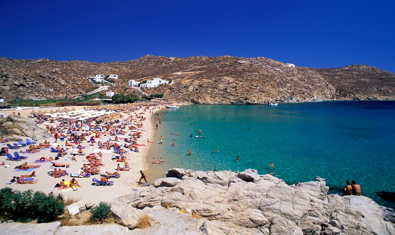 Greece, Cyclades. Mykonos Island. Superparadise Beach
