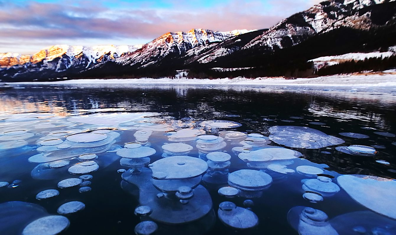 Ice bubbles at sunrise, Abraham Lake, Clearwater County, AB, Canada