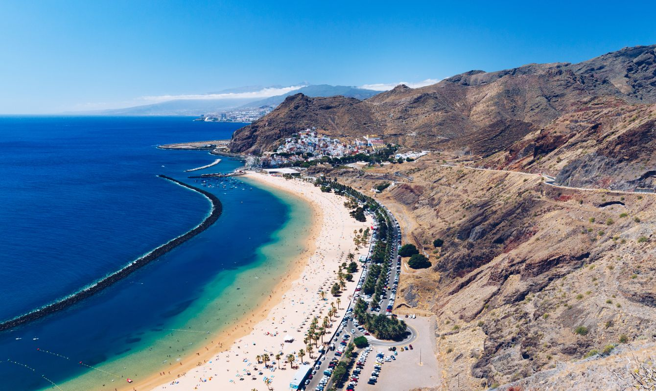 Aerial view of Playa de las Teresitas beach and ocean lagoon, Tenerife, Canary islands, Spain