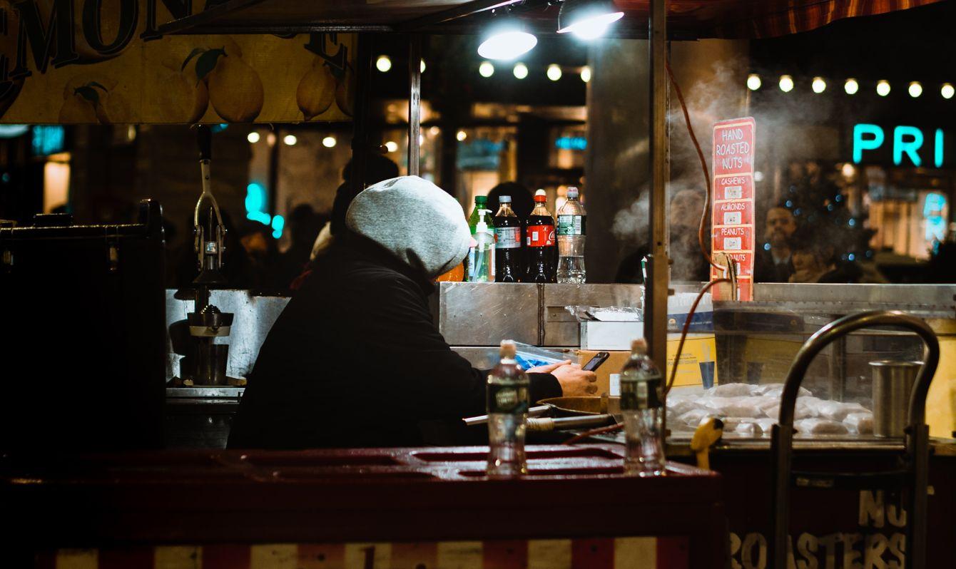 Boston, MA, USA nighttime food stand
