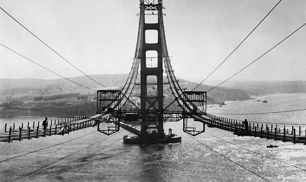 circa 1935: View of the Golden Gate Bridge under construction, San Francisco, California.