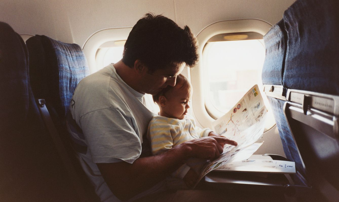 Father and Baby on Airplane