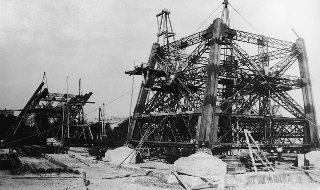 Construction begins on the Eiffel Tower in Paris, 1st September 1887.