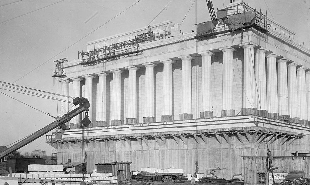 UNITED STATES - CIRCA 1914: Lincoln Memorial Undergoes Construction as cranes lift blocks of marble atop Greek Columned Monument to the 16th President