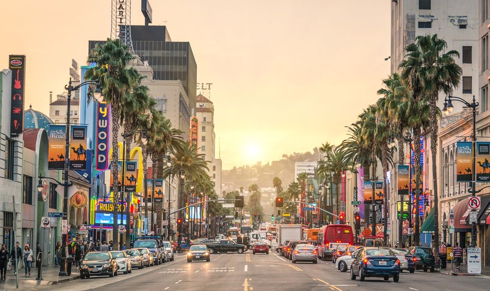 View of Hollywood Boulevard at sunset
