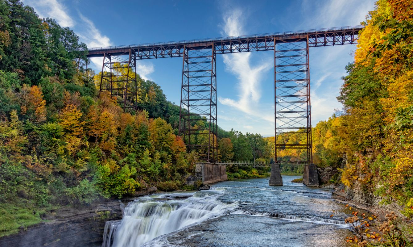 The Upper Falls And Railroad Trestle At Letchworth State Park In New York