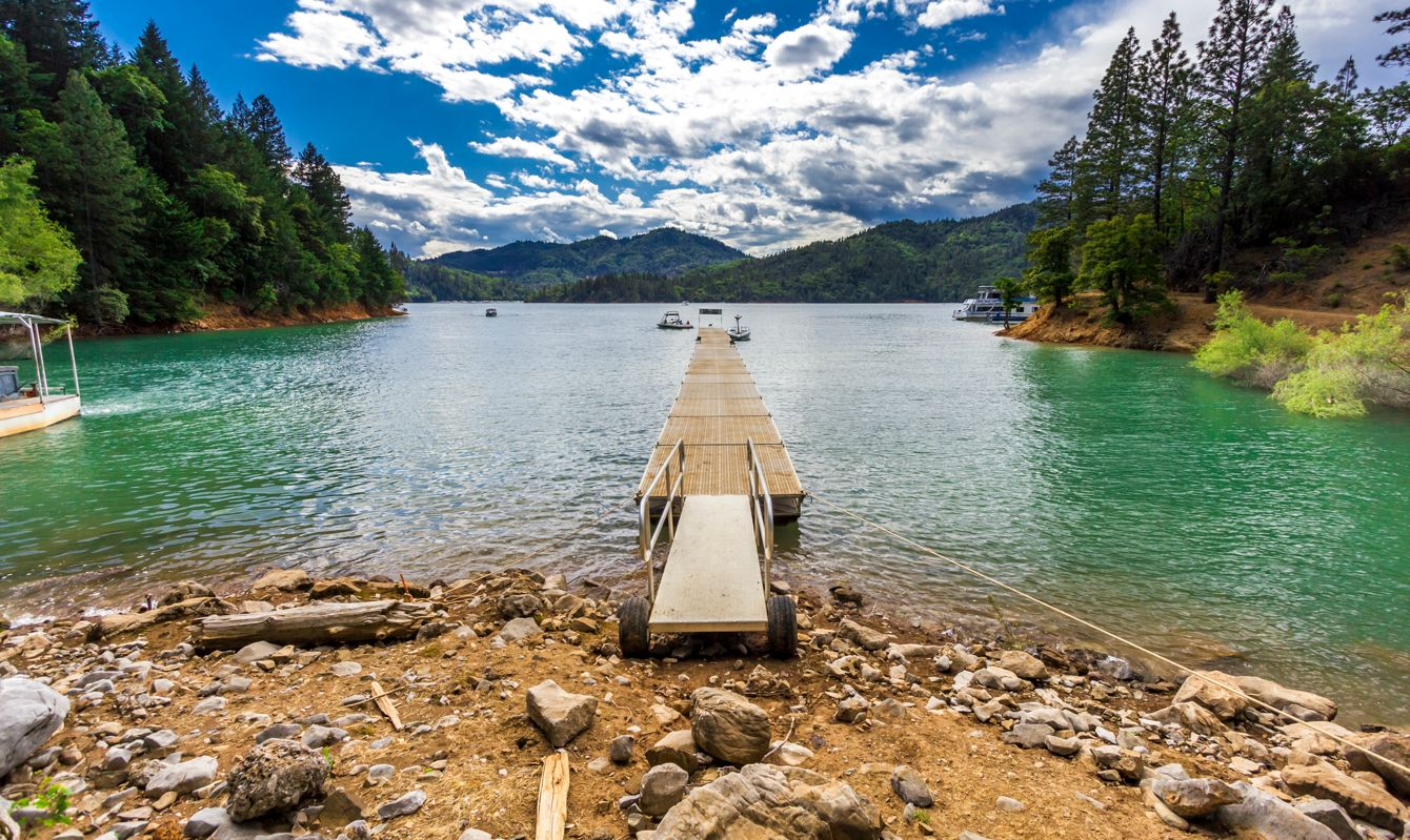 Shasta Lake is located at northern California. The color of the lake is unique.