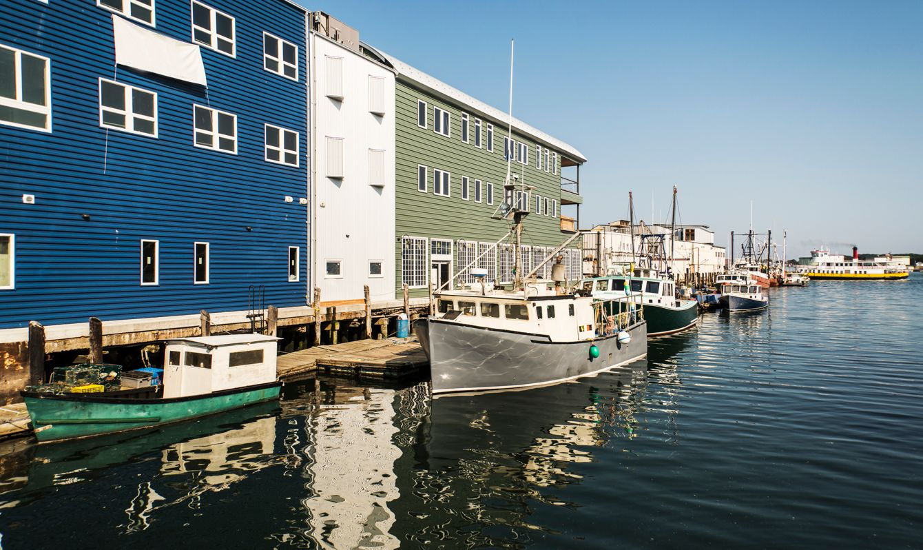 old docks and boats in Portland, Maine, USA