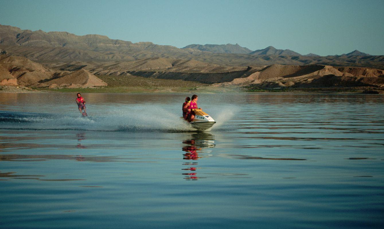 Jet Ski Pulling a Water Skier on Lake Mead