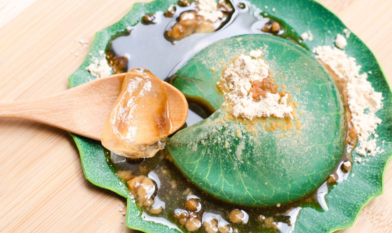 "Water cake (the water drop dessert mochi ""mizu shingen mochi"" or ""Yamanashi Mochi ""). A Japanese style dessert with decoration. Raindrop Mizu Mochi is a popular dessert in Japanese, no calorie."