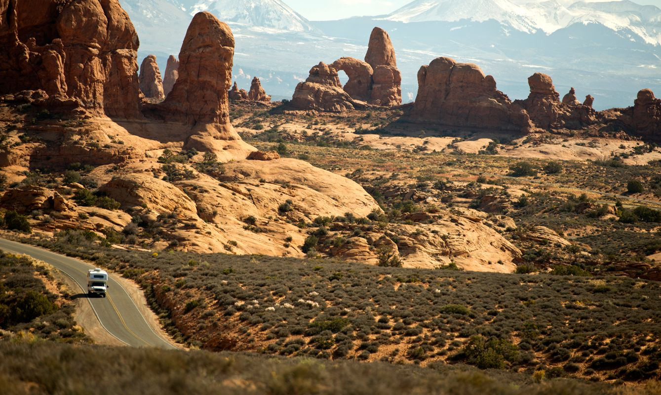 Camper on the road near the Windows section of Arches National Park