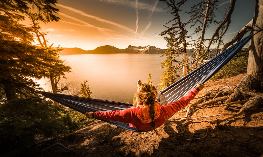 Woman Hiker Relaxing in Hammock Crater Lake National Park Oregon