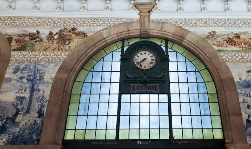 São Bento Railway Station in Porto, Portugal clock