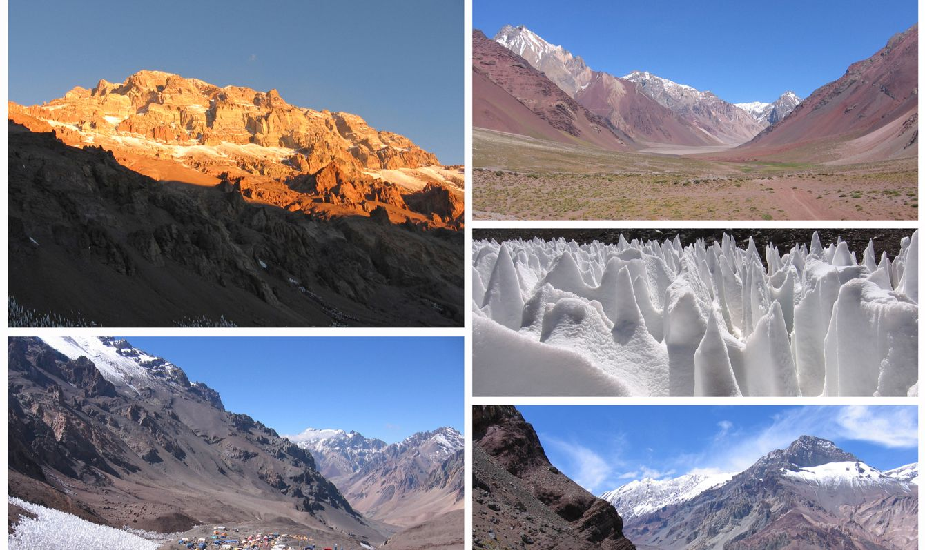 Aconcagua Provincial Park Collage Style background. Collection of mountain images from around Aconcagua in Argentina, and ice penitenties found in the area.