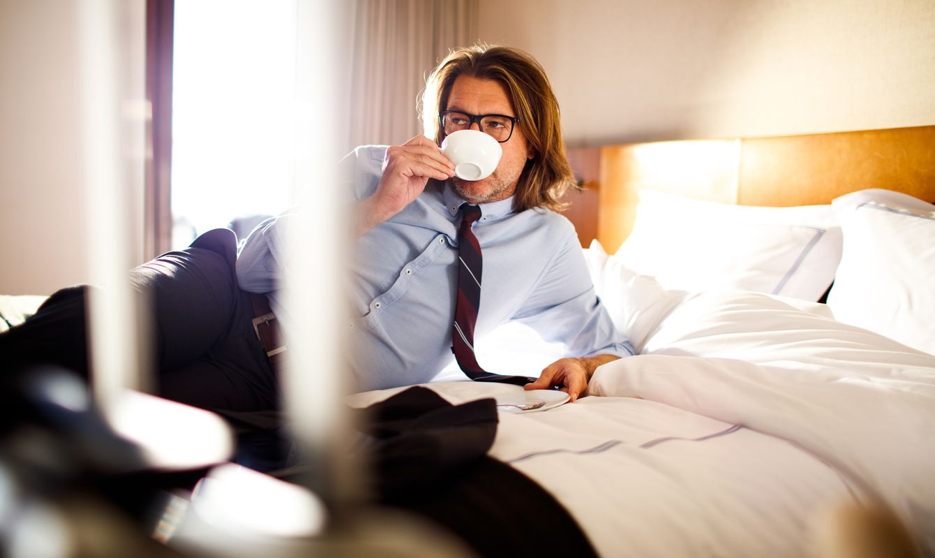 Close up of a businessman relaxing after traveling