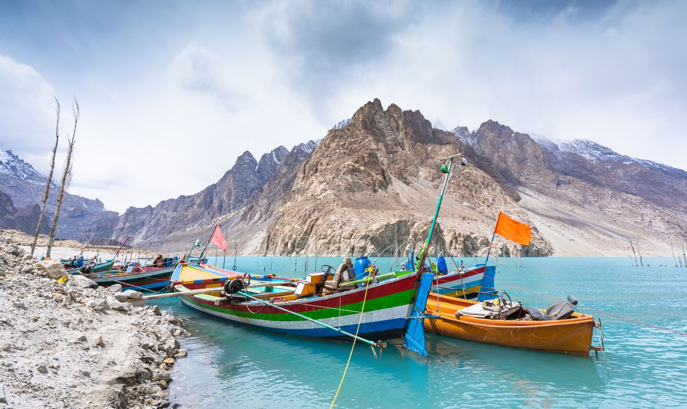 Natural view along Attabad lake in Pakistan mountains at Hunza valley