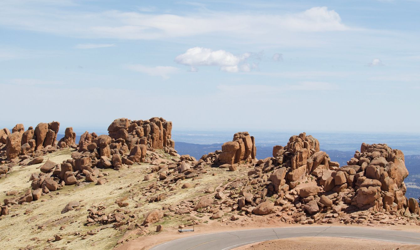 Rock formation at a switchback curve on Pike's Peak.