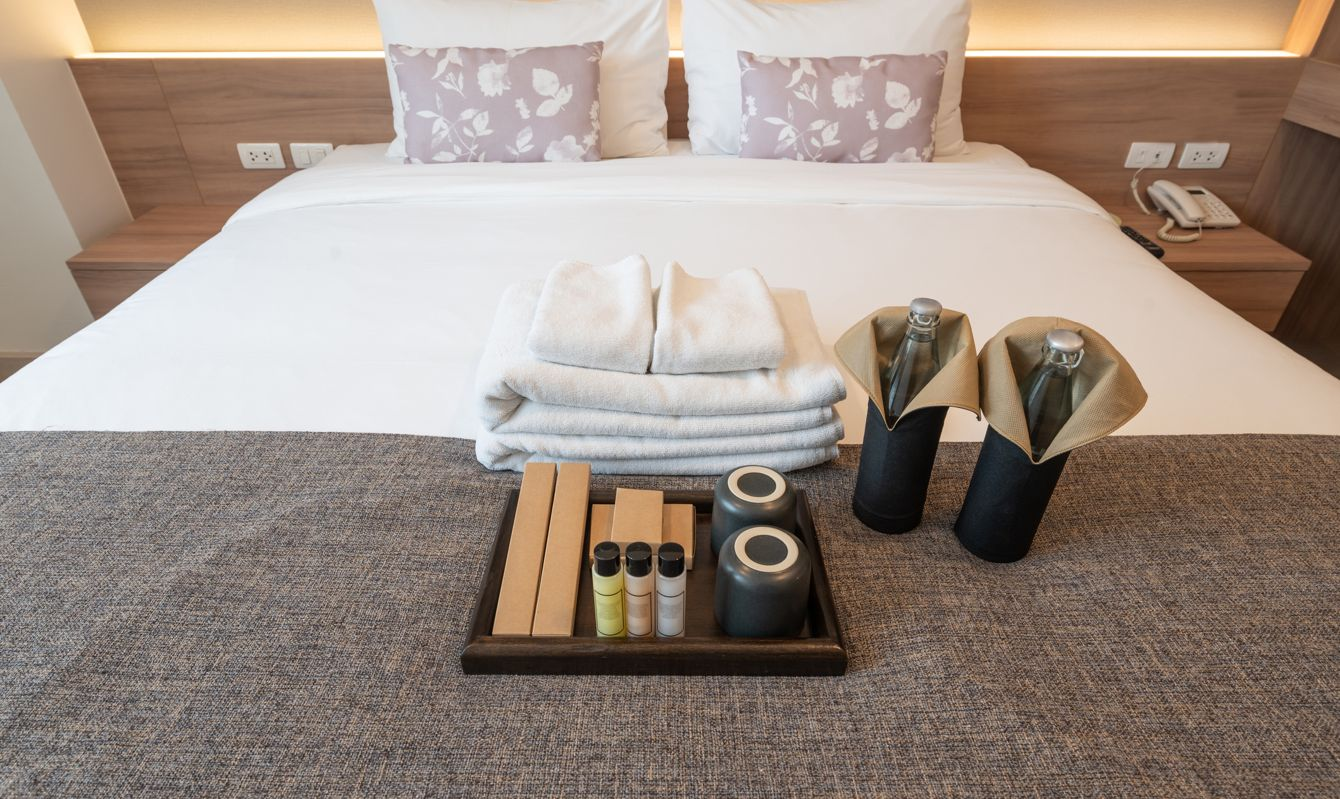 Hotel amenities is something of a premium nature provided in addition to the room when renting a room.