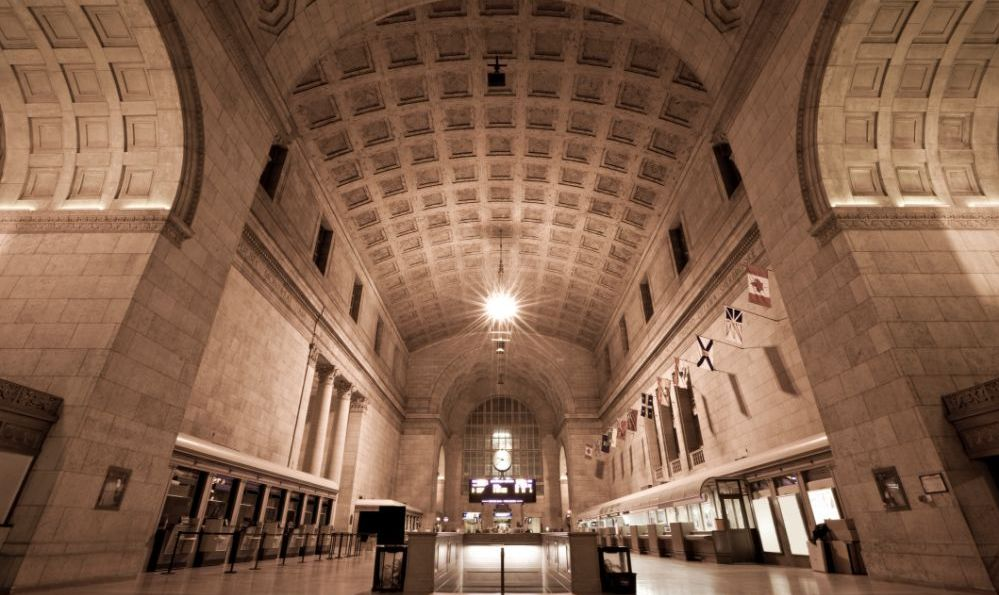 Union Station in Toronto, Ontario vaulted ceilings