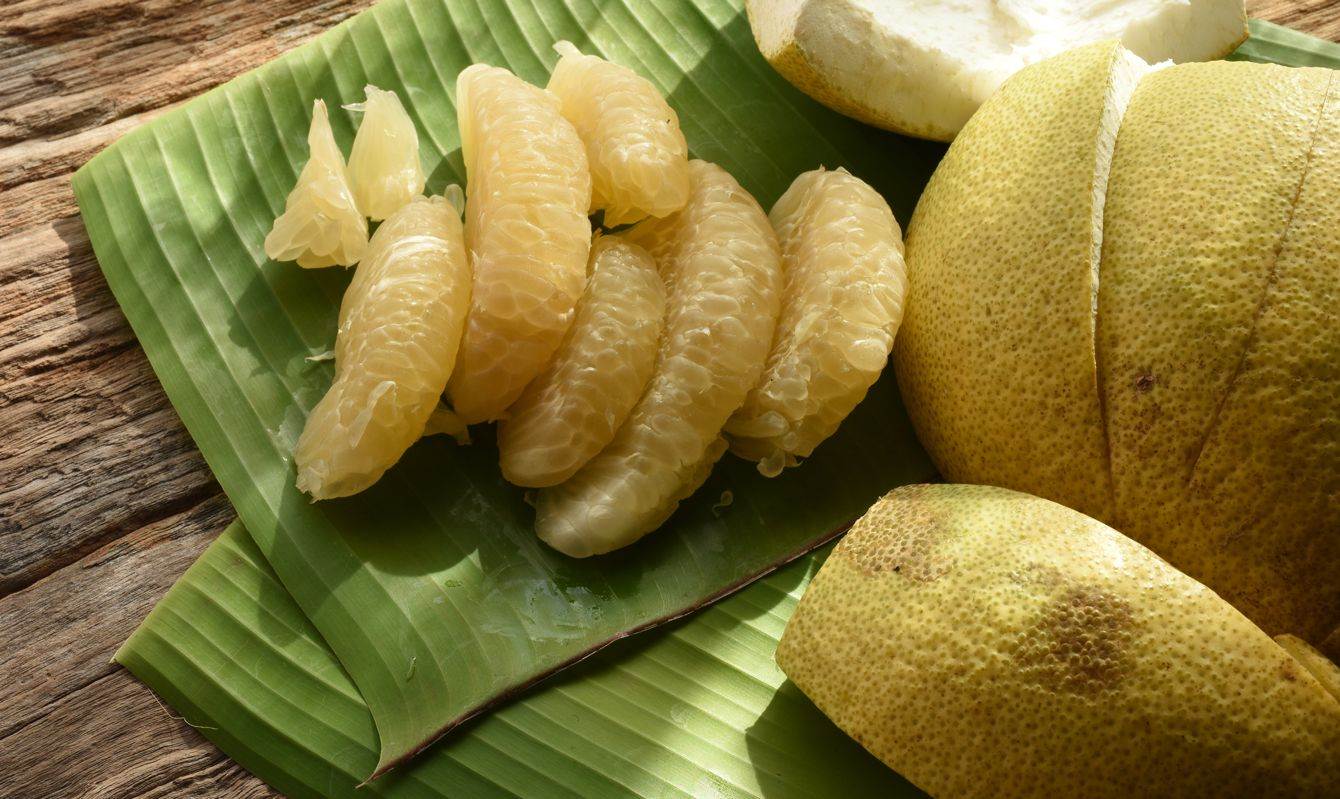 Pomelo, the tropical tasty fruit which is common in Thailand.