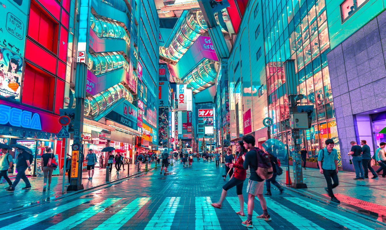 Using the crosswalk in Tokyo, Japan
