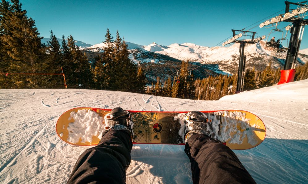 """A snowboarder's point of view from the top of the mountain at Loveland Ski Area, Colorado."""""""