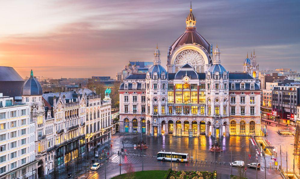 Antwerp Centraal Station, Belgium train station at sunset