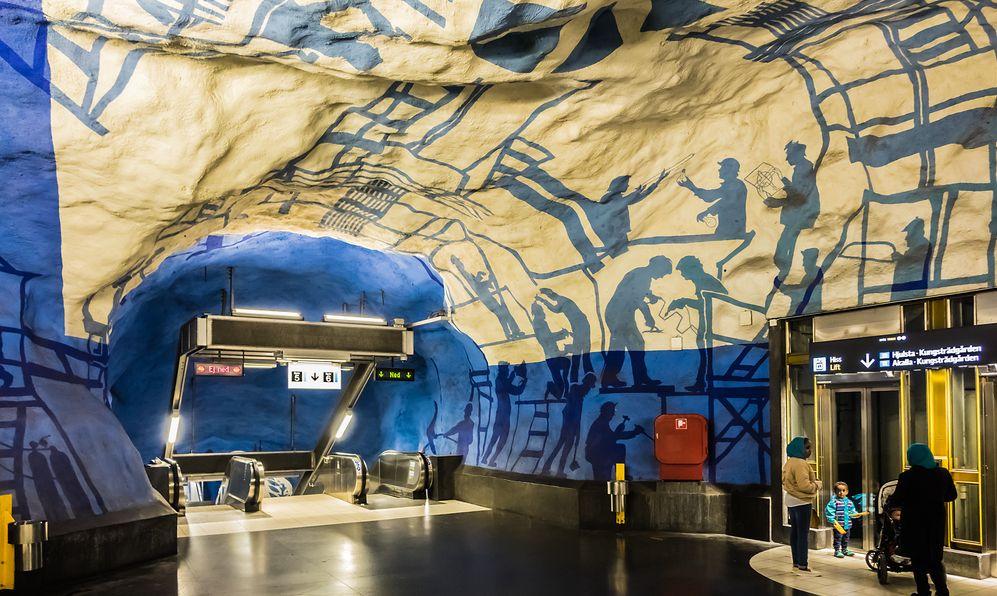 T-Centralen Metro Station in Stockholm, Sweden murals