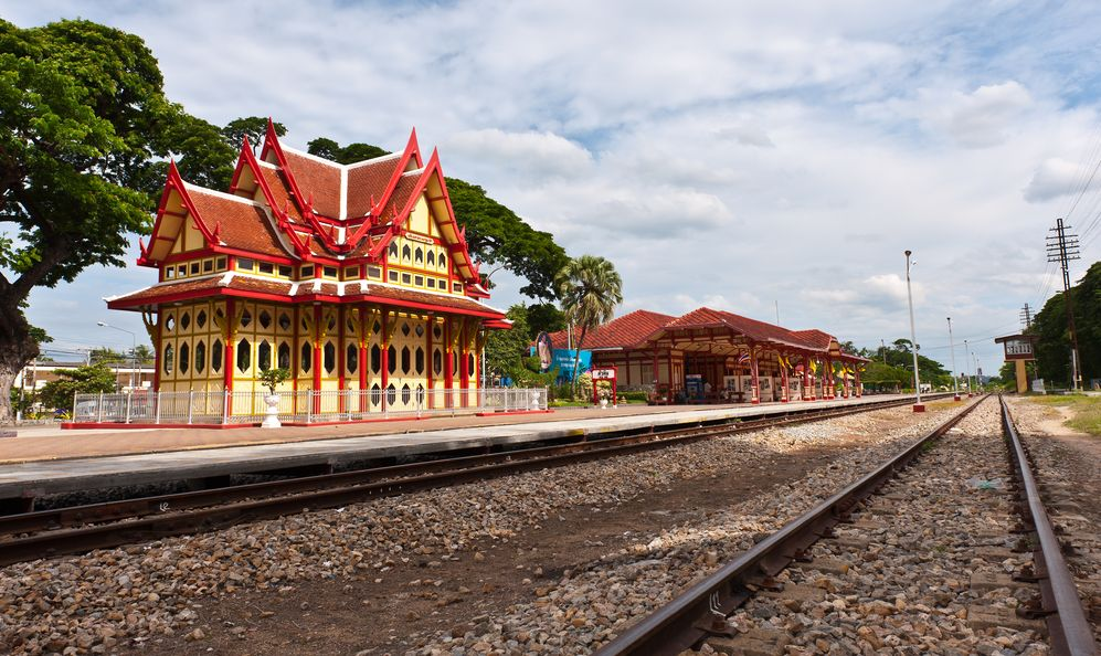 Hua Hin Station, Thailand yellow and red buildings