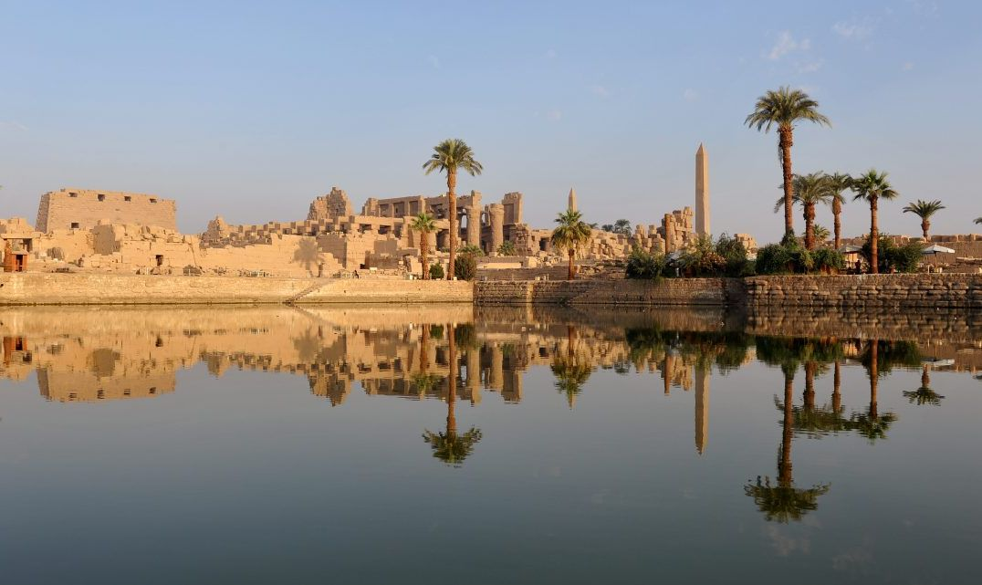 Sandstone Buildings Along The Egyptian Nile