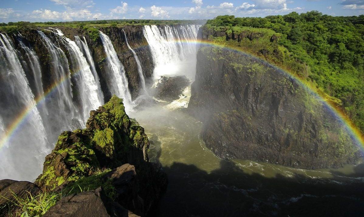 A Rainbow Spreads Over Victoria Falls
