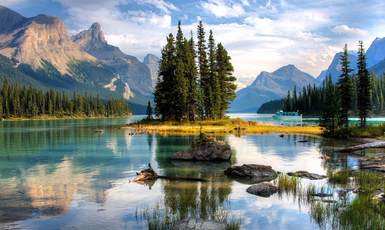 Spirit Island - Jasper, Alberta, Canada. Wide angle shot during summer.
