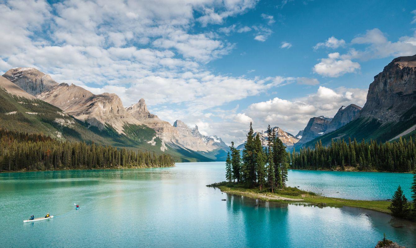 Jasper National Park, Alberta, Canada, Spirit Island on Maligne Lake during summer.