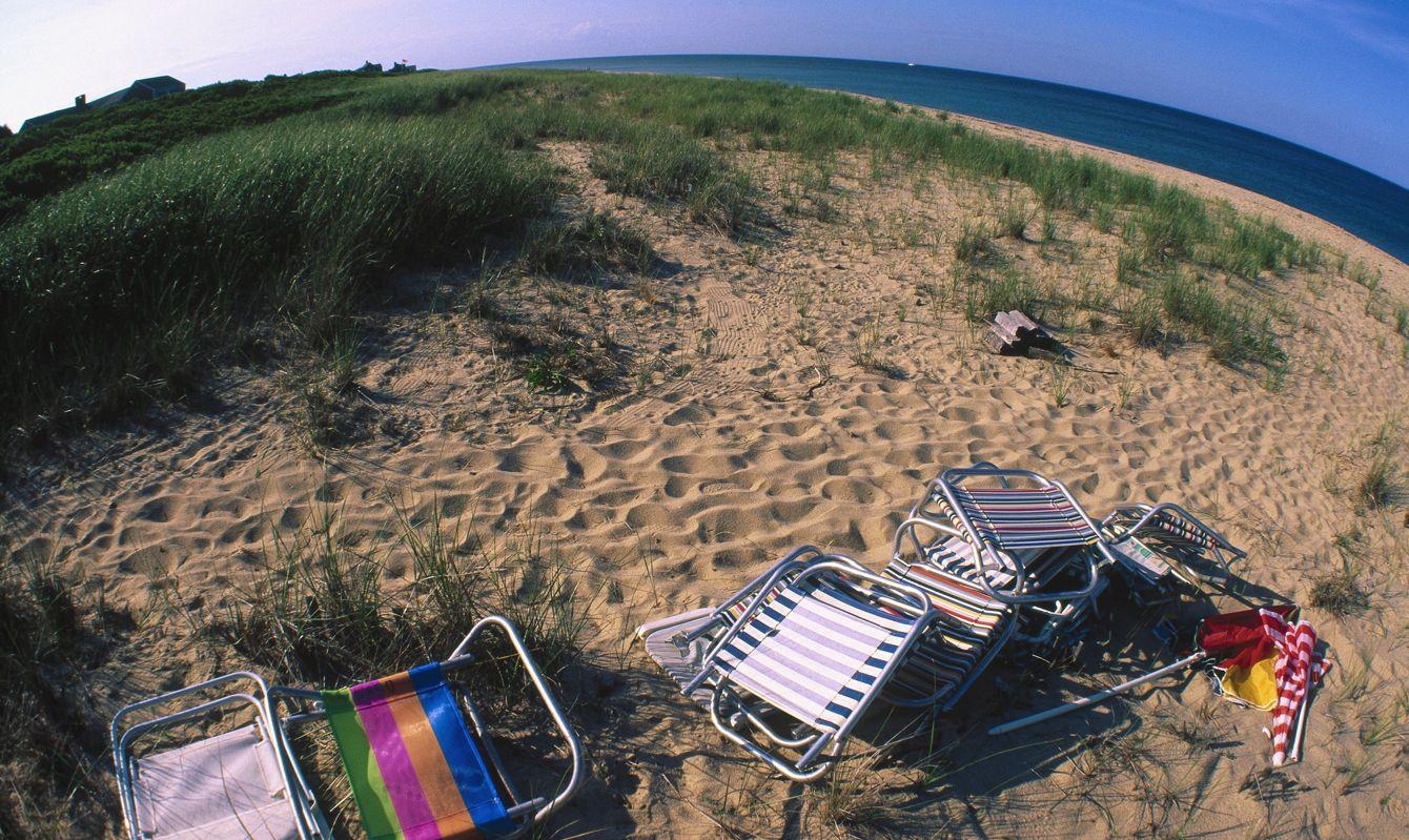 Nantucket Beach, Beach chairs on the sand