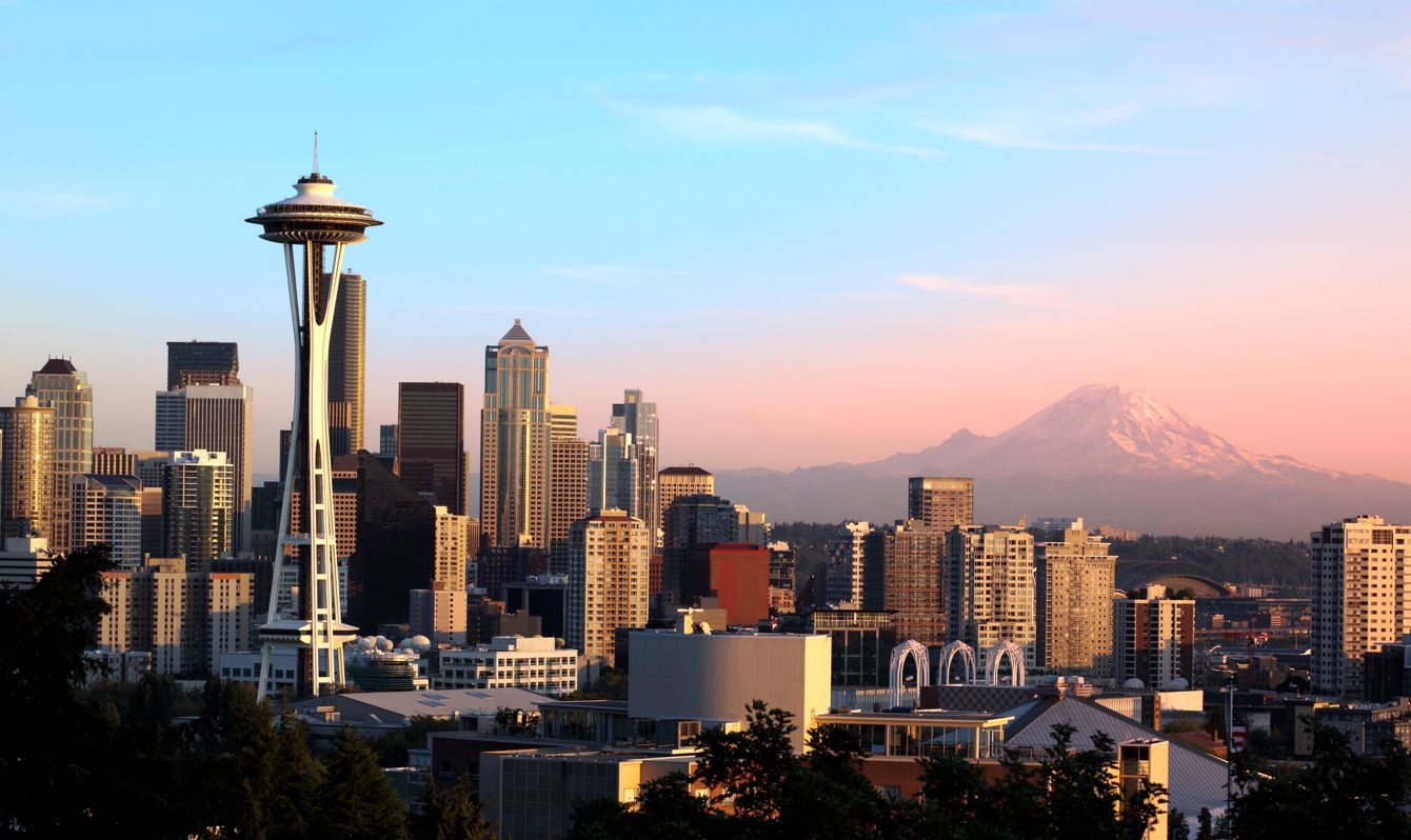 Seattle, WA. skyline with Mt. Rainier.