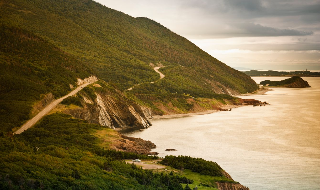 The Cabot Trail winds its way along the Gulf of St. Lawrence