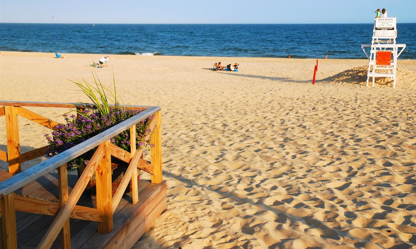 The deck of the public pavilion at Main Beach in East Hampton, Long Island. the beach is nearly deserted in the late afternoon
