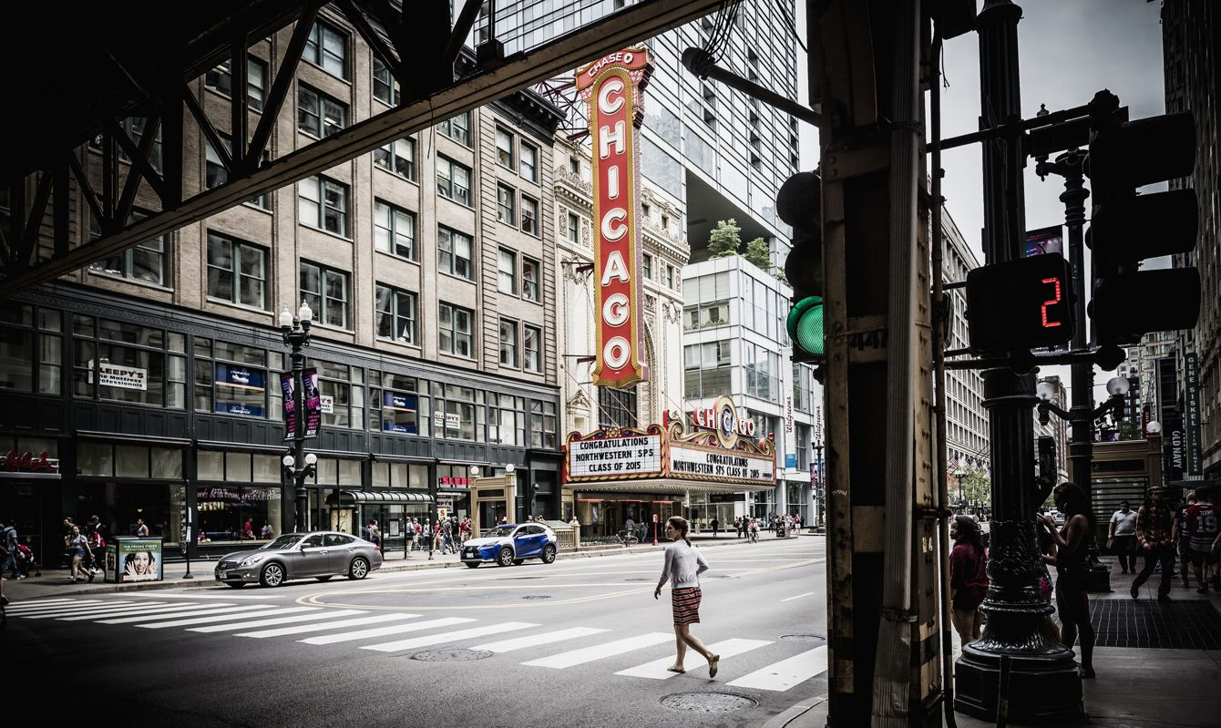 View of N State street with the sign of the Chicago Theatre