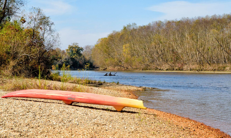 A paddle board on a sandbar at Bogue Chitto State Park, Washington Parish, Louisiana.
